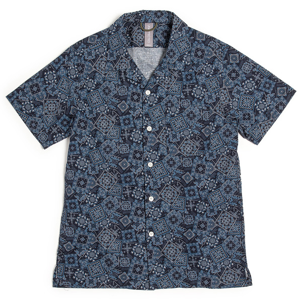 [UNAFFECTED] OPEN COLLAR HALF SHIRT NAVY BANDANA