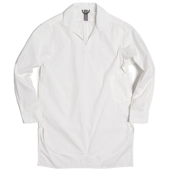 [UNAFFECTED] ONE PIECE COLLAR V-NECK SHIRT WHITE