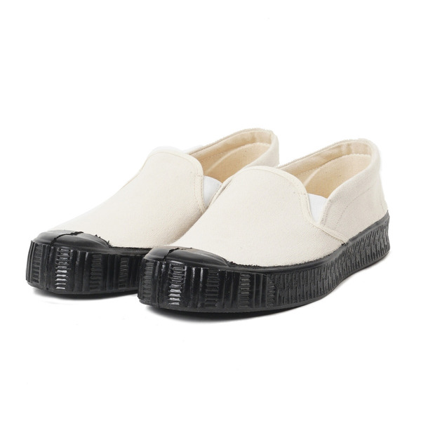 [FERN] Army Slipon Model Off White Canvas/Black