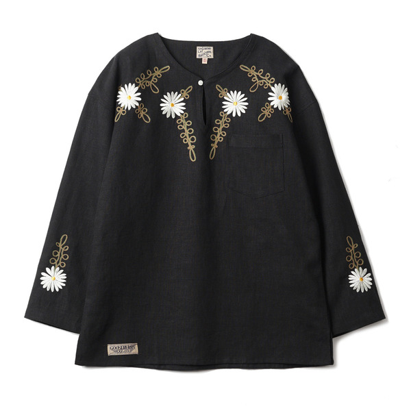 "[Gooseberry Lay & Co.] Doc. Tunic Embroidered Flower ""Black"""