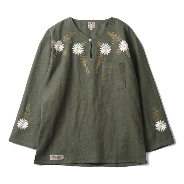"[Gooseberry Lay & Co.] Doc. Tunic Embroidered Flower ""Olive"""