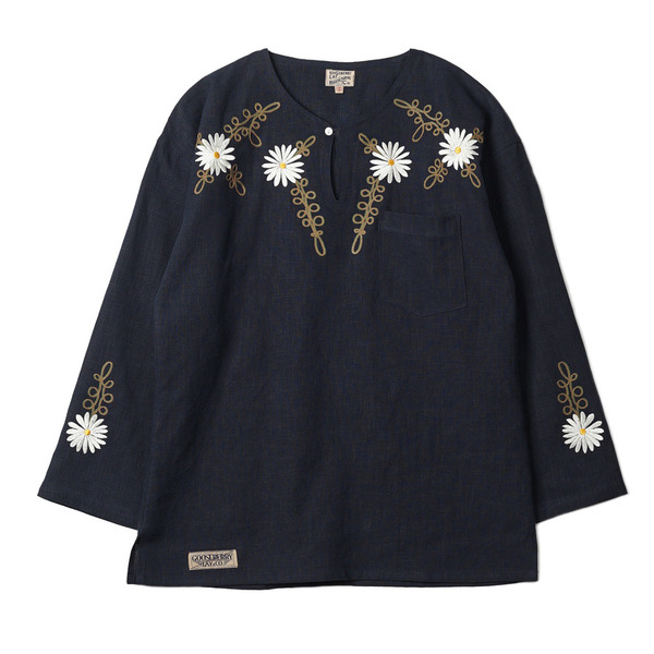 "[Gooseberry Lay & Co.] Doc. Tunic Embroidered Flower ""Navy"""