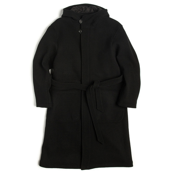 [UNAFFECTED] HOODED ROBE COAT 'BLACK WOOL'