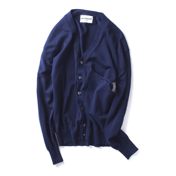 [BIRTHDAYSUIT] BIG POCKET KNIT CARDIGAN 'NAVY'