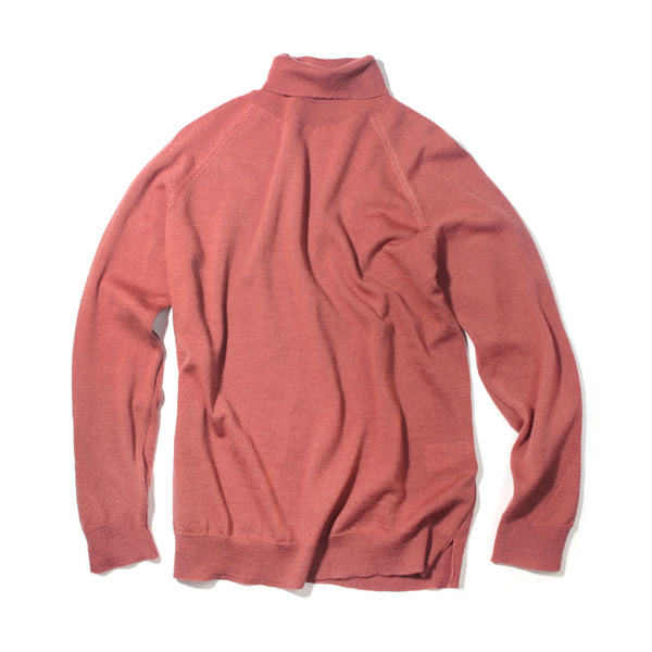 [FORUMWEAR] WOOL ROLL NECK ELBOW PATCH SWEATER 'CORAL'