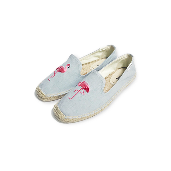 [SOLUDOS] SMOKING SLIPPER EMBROIDERED 'FLAMINGO'