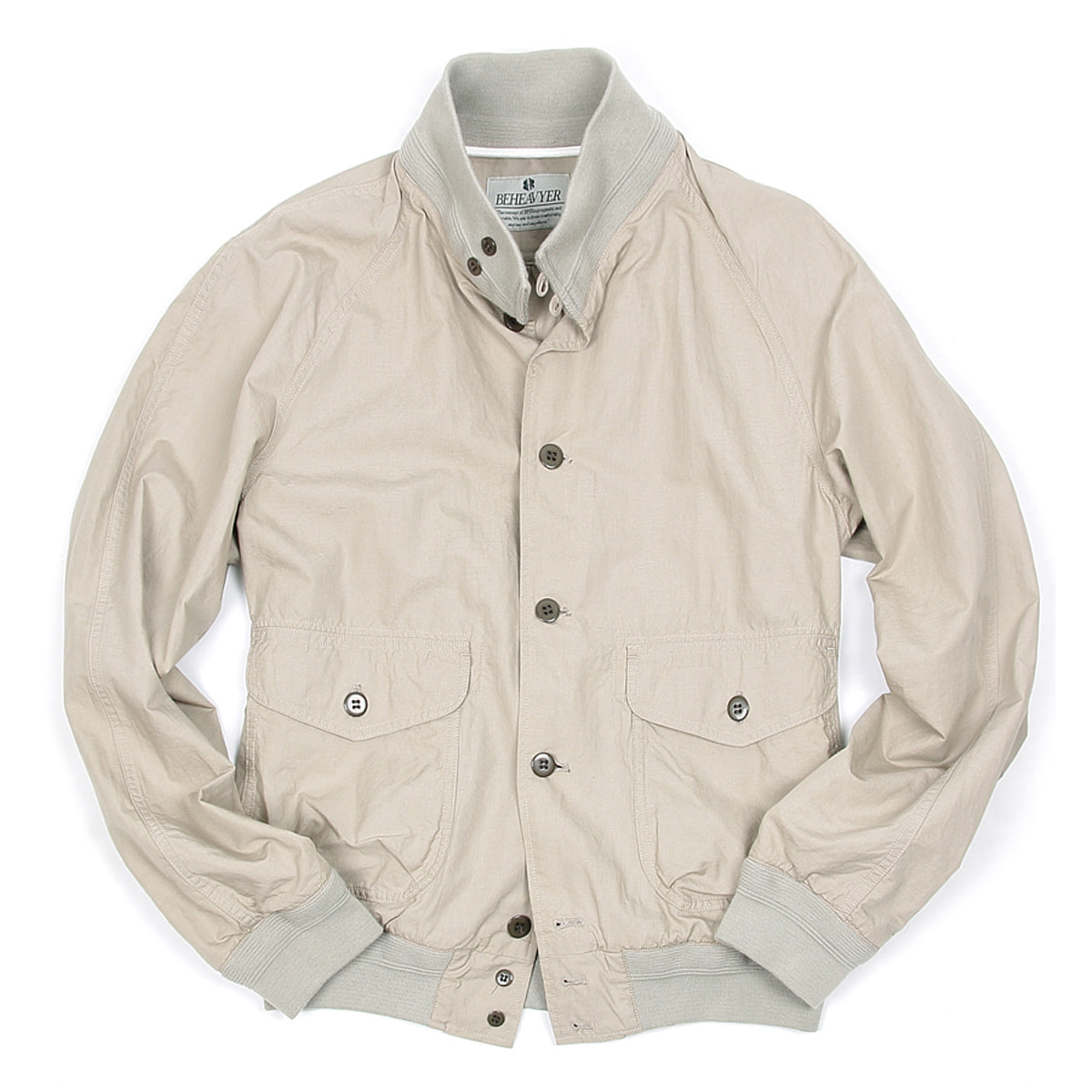 [BEHEAVYER] BHR A-1 LINEN BLOUSON 'LIGHT GRAY'