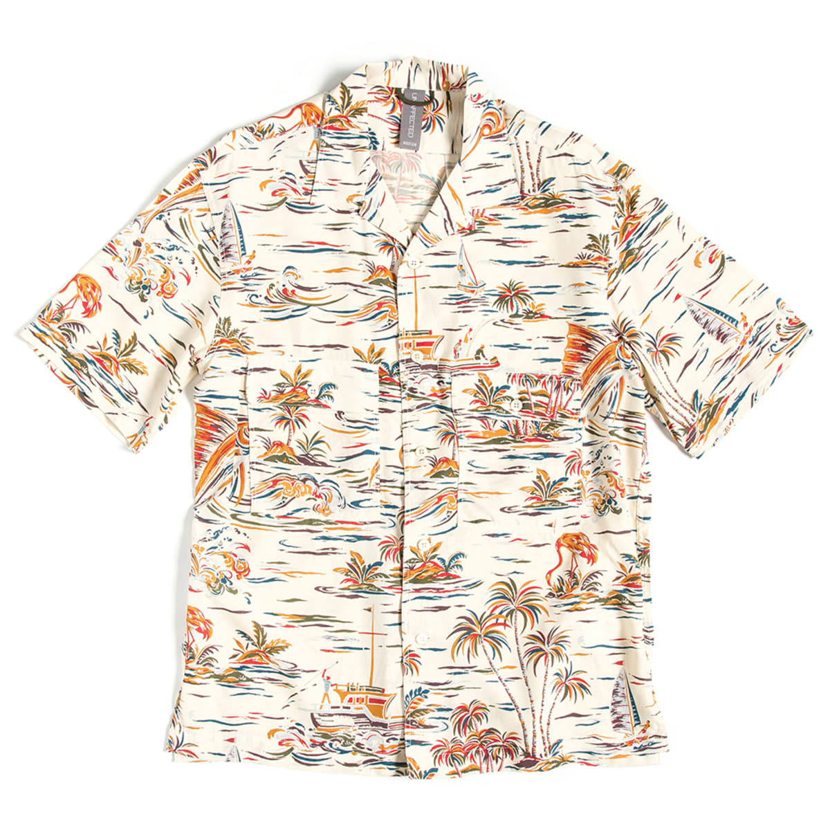 [UNAFFECTED] OPEN COLLAR HALF SHIRT 'IVORY FISH'