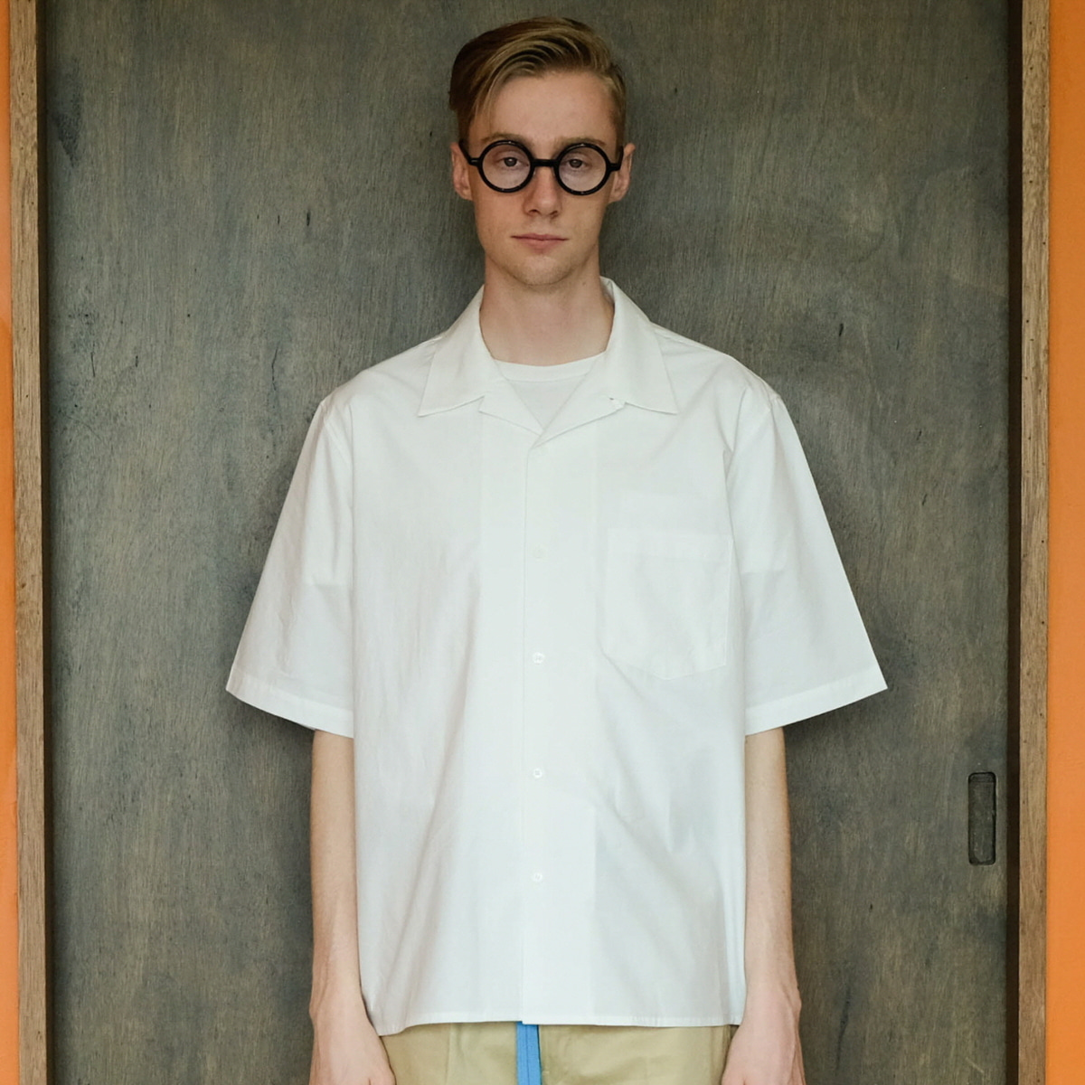 [DAILY INN]  RECEPTION RELEXED OPEN COLLAR SHIRTS 'WHITE'