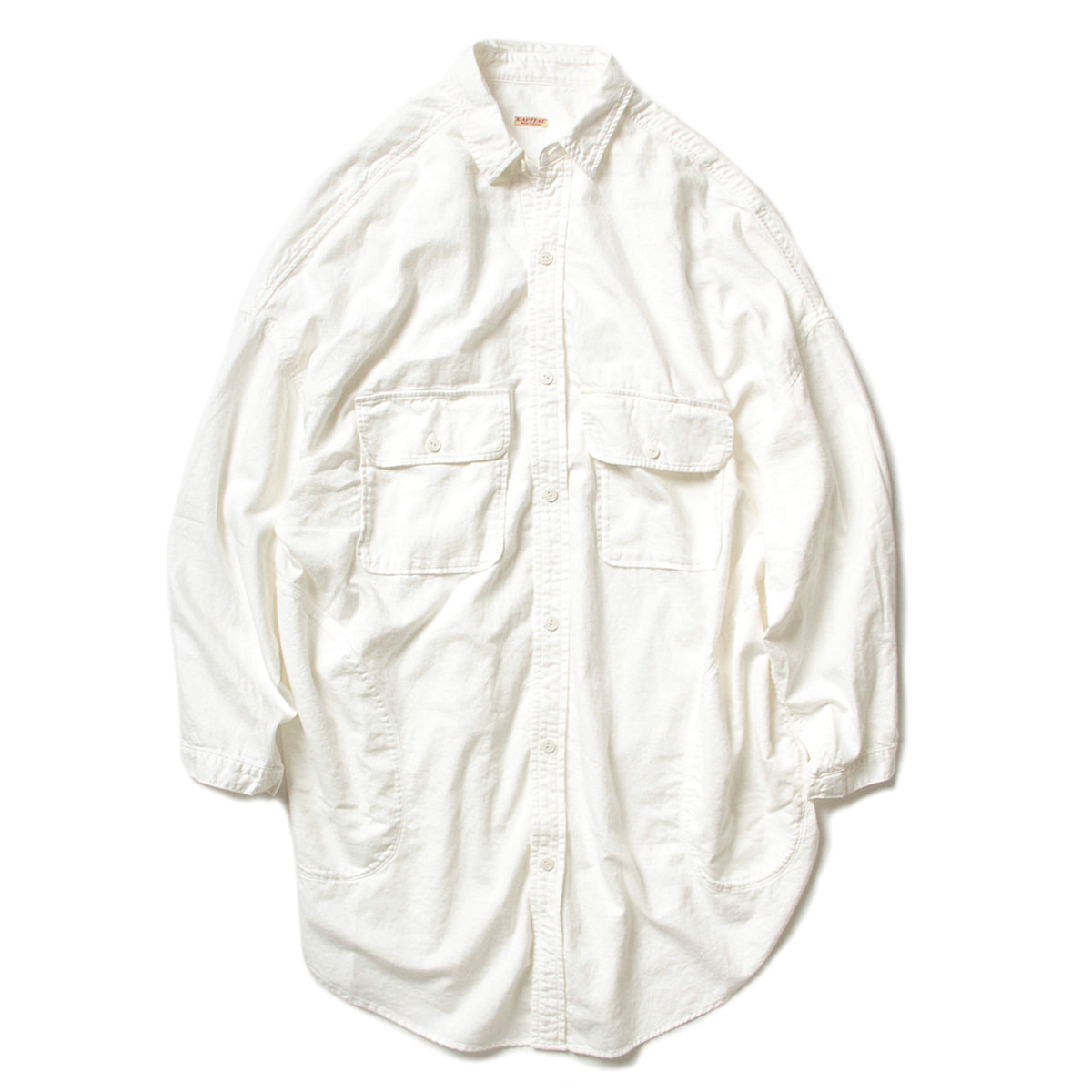 [KAPITAL] SOFT TWILL COTTON OVERSIZED SHIRT 'WHITE'