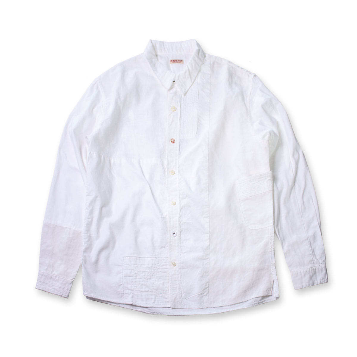 [KAPITAL] COTTON x LINEN WHITE PATCH KATHMANDU SHIRTS 'WHITE'