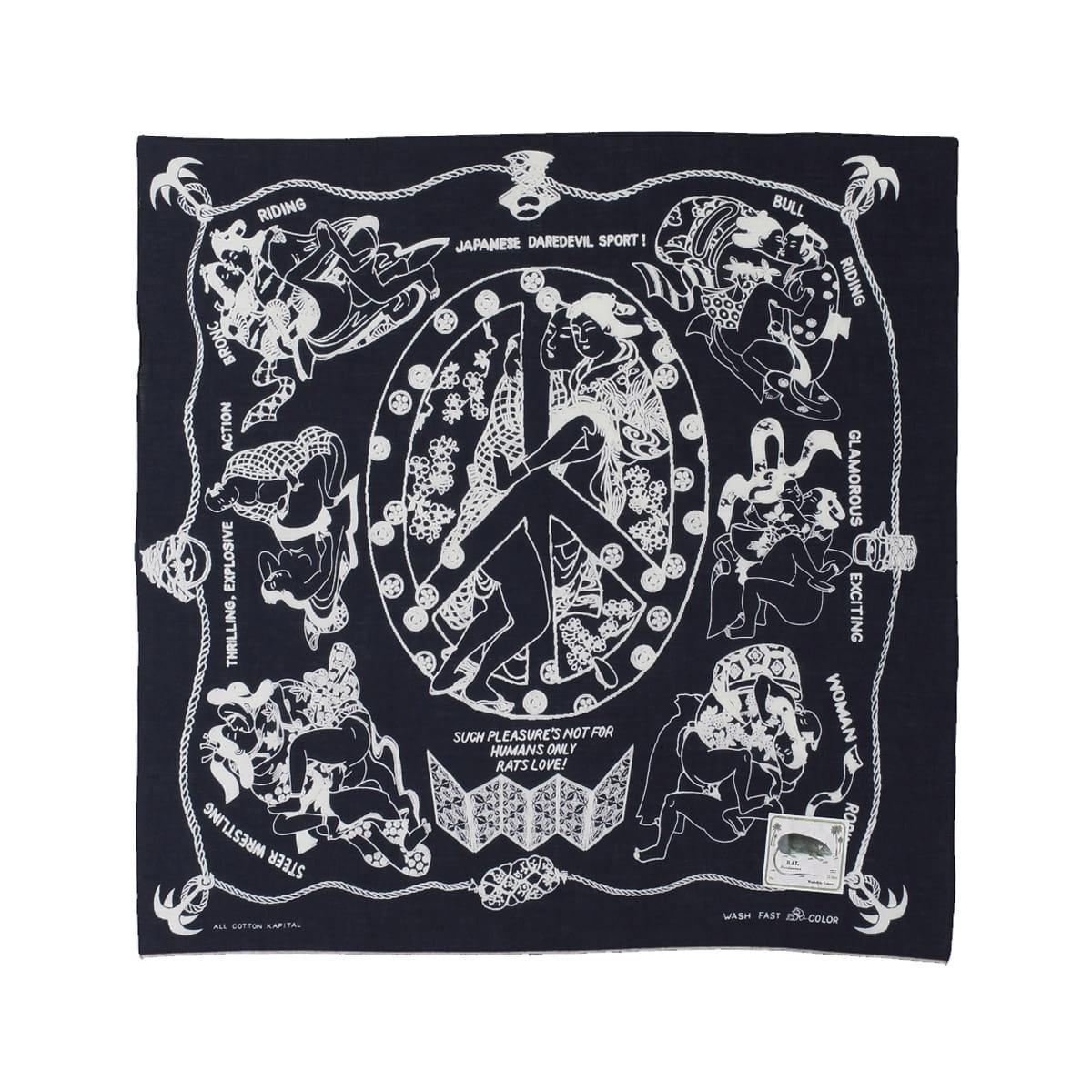 [KAPITAL] FAST COLOR SELVEDGE BANDANA (YOBAI) 'BLACK'