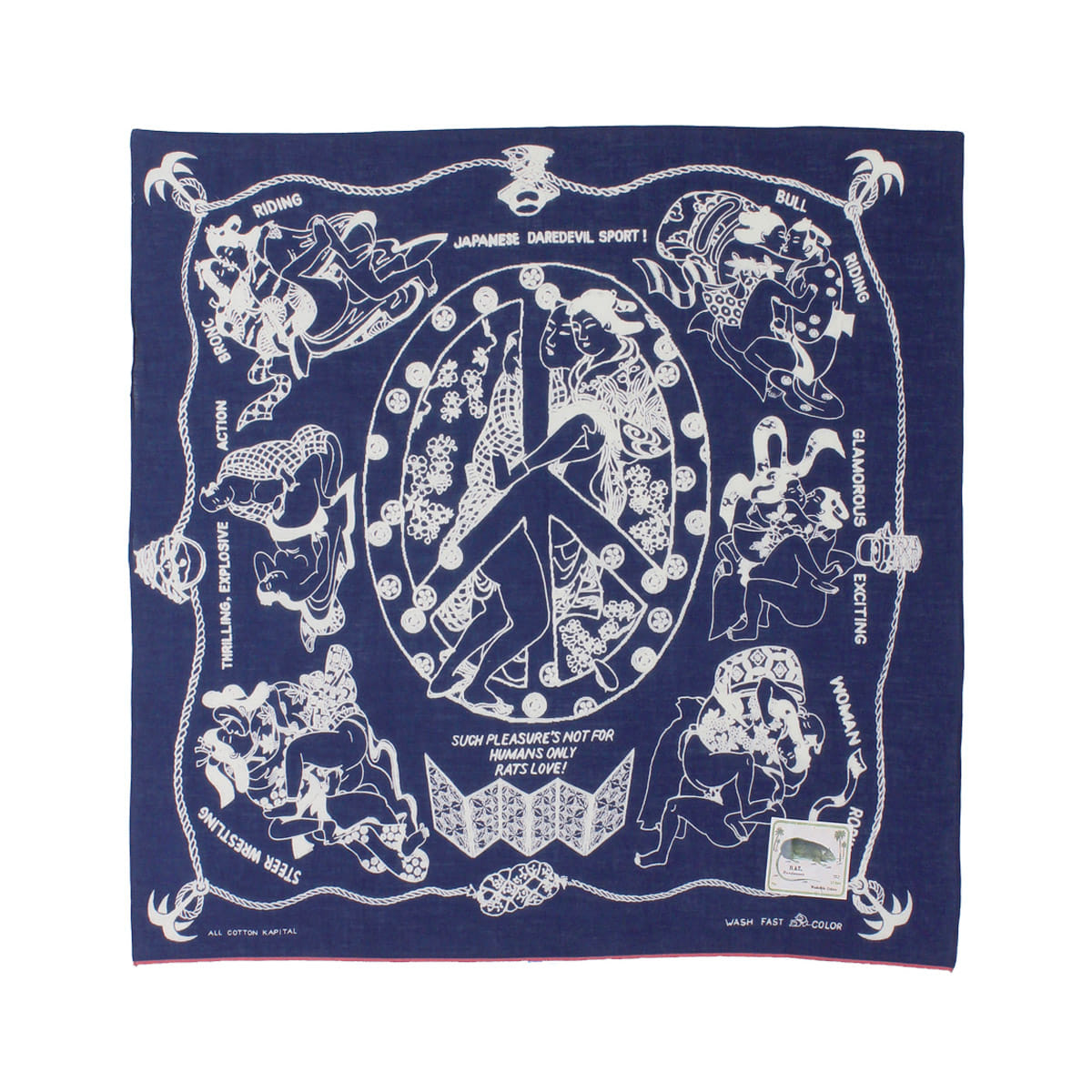 [KAPITAL] FAST COLOR SELVEDGE BANDANA (YOBAI) 'NAVY'