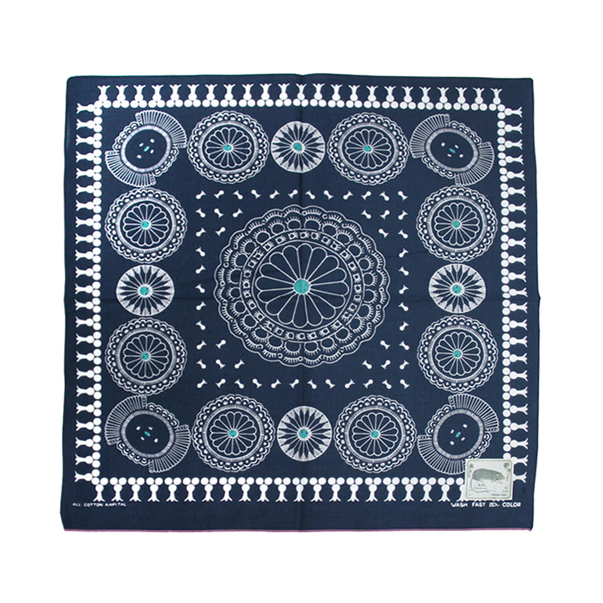 [KAPITAL] FAST COLOR SELVEDGE BANDANA (CONCHO) 'NAVY'