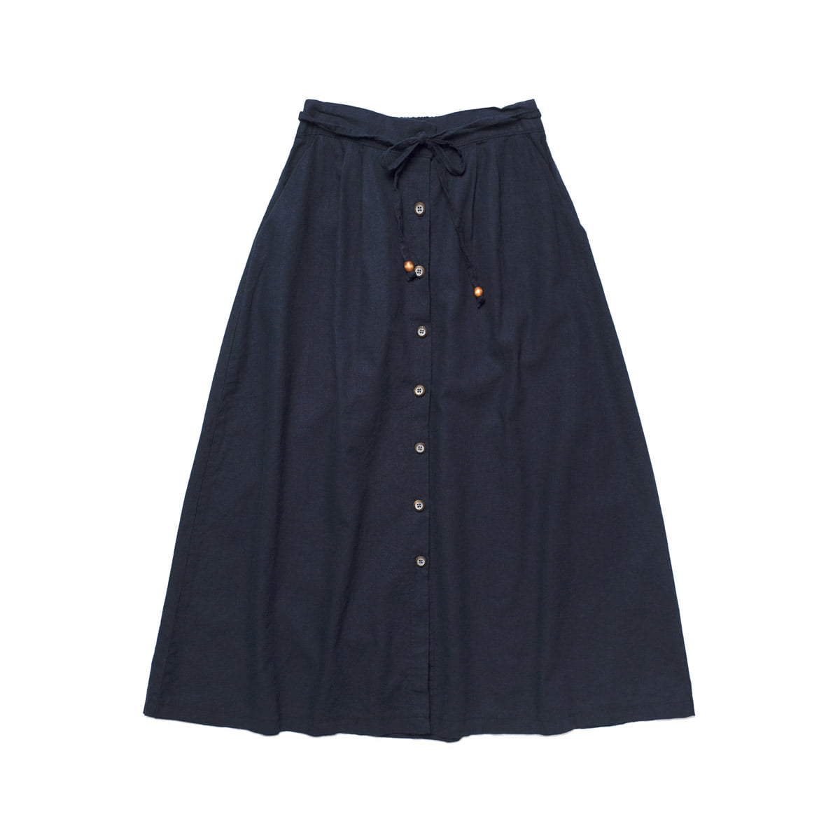 [CHIQUITA] L 2018 LINEN OPEN SKIRT 'NAVY'