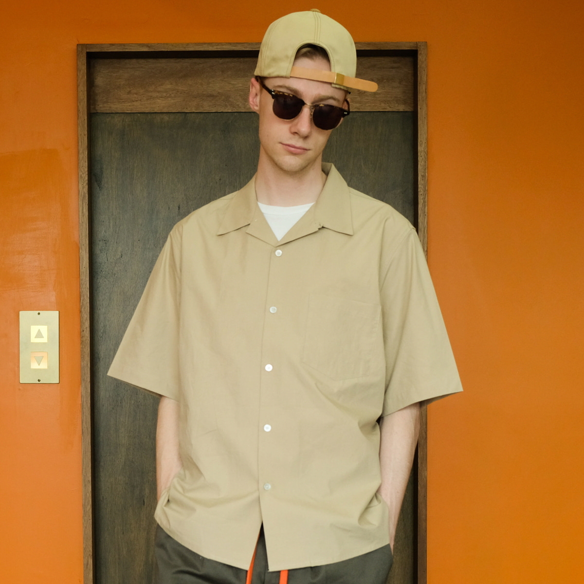 [DAILY INN]  RECEPTION RELEXED OPEN COLLAR SHIRTS 'BEIGE'