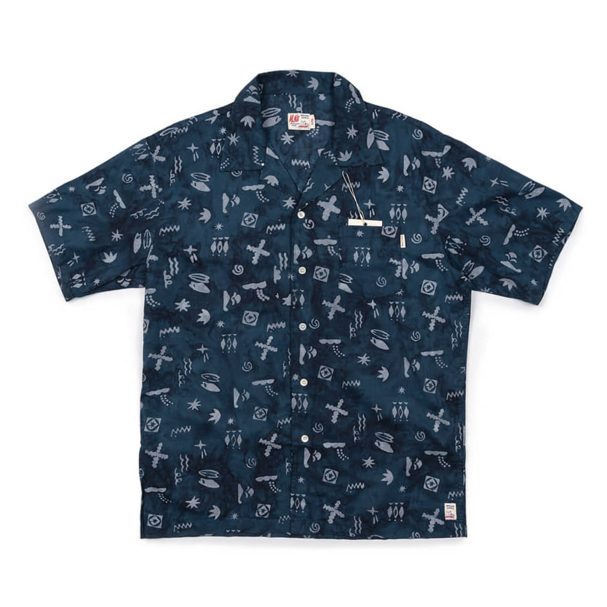 [M.NII] Matt And Mel x M.Nii HAND PRINTED ALOHA SHIRTS 'NAVY'
