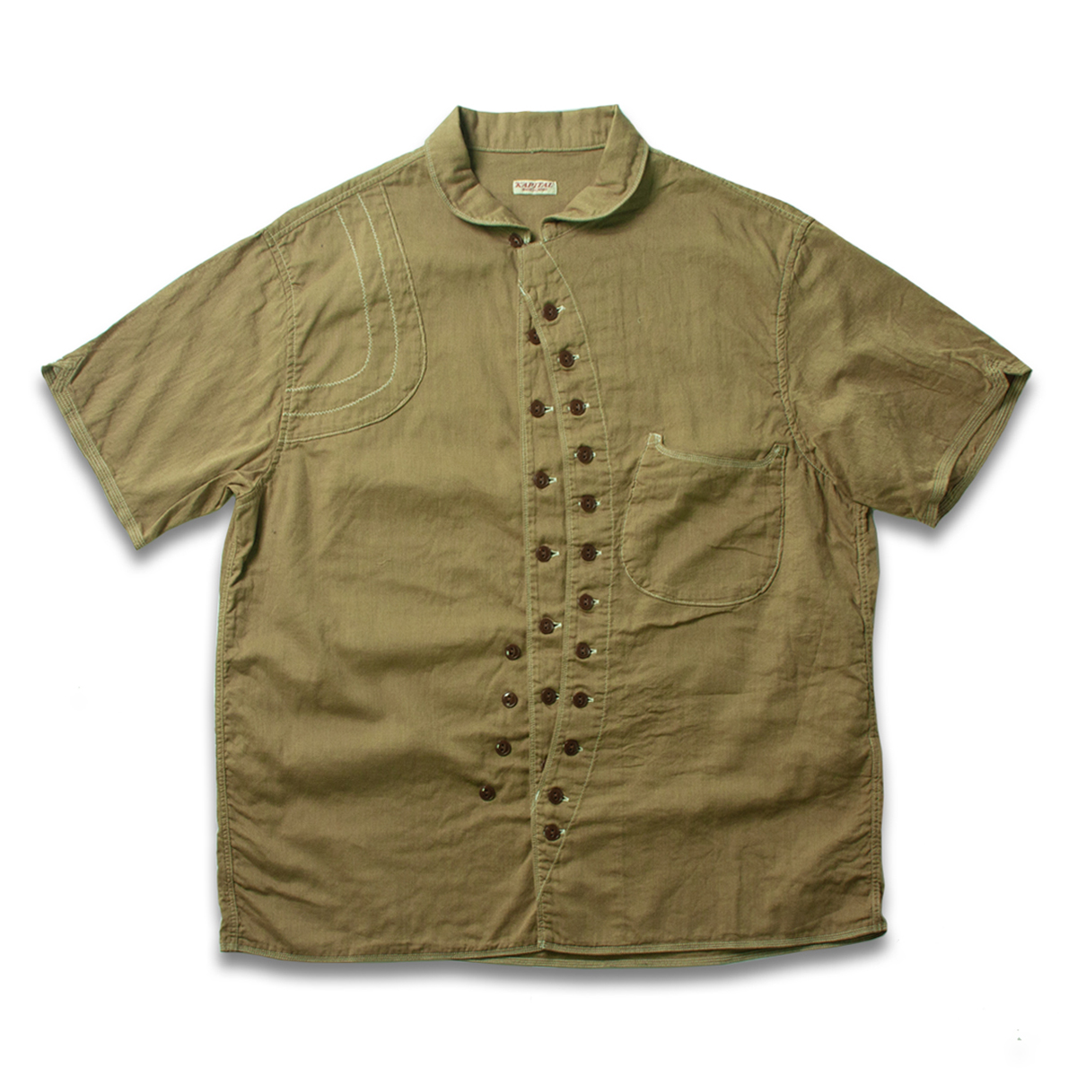 [KAPITAL] SINGLE-LAYER GAUZE SAFARI ALOHA SHIRT 'GOLD'