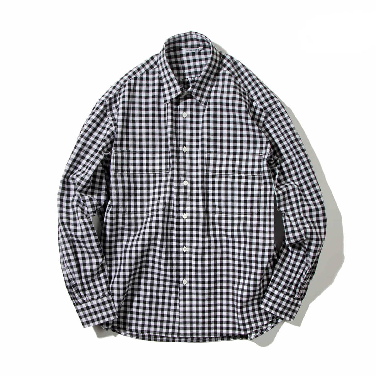 [NEITHERS] 211-15 2-POCKET WIDE SHIRT 'BL/WH'