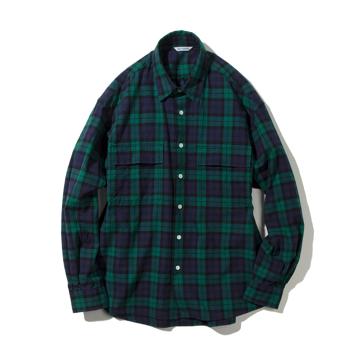 [NEITHERS] 211-3 2-POCKET WIDE SHIRT 'GR/NV'