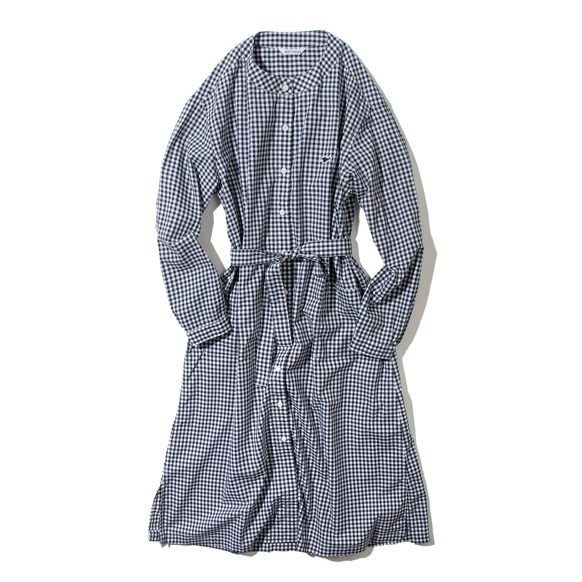 [NEITHERS] 220-12 COLLARLESS ONEPIECE 'WHITE / NAVY'