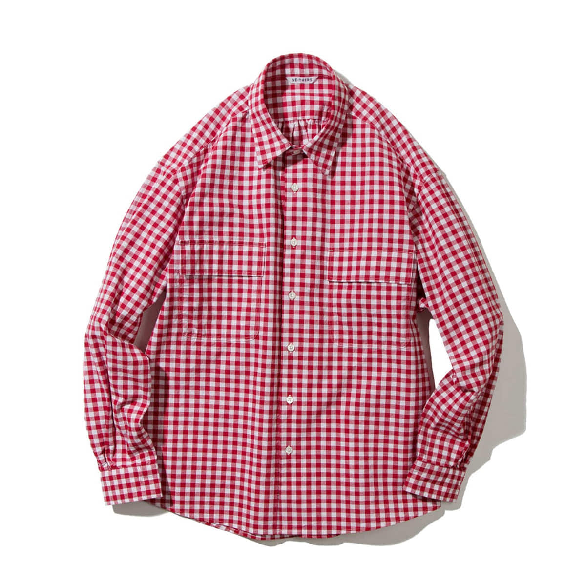 [NEITHERS] 211-14 2-POCKET WIDE SHIRT 'RED/WH'