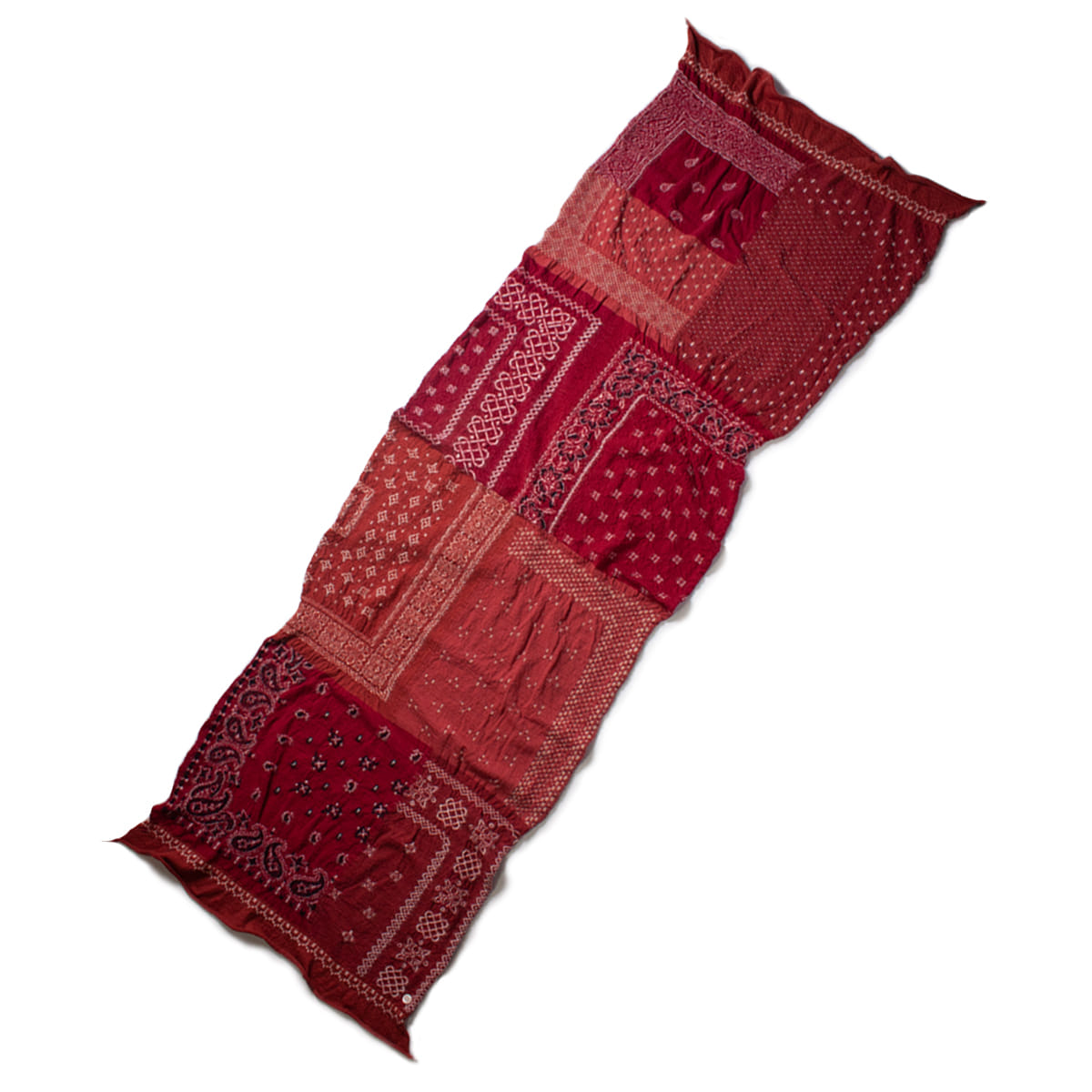 [KAPITAL] COMPRESSED WOOL SCARF BANDANA PATCHWORK 'RED'