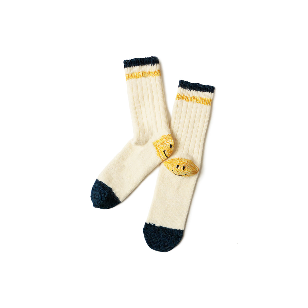 [KAPITAL] 72 YARNS WOOL IVY SMILE SOCKS 'WHITE'