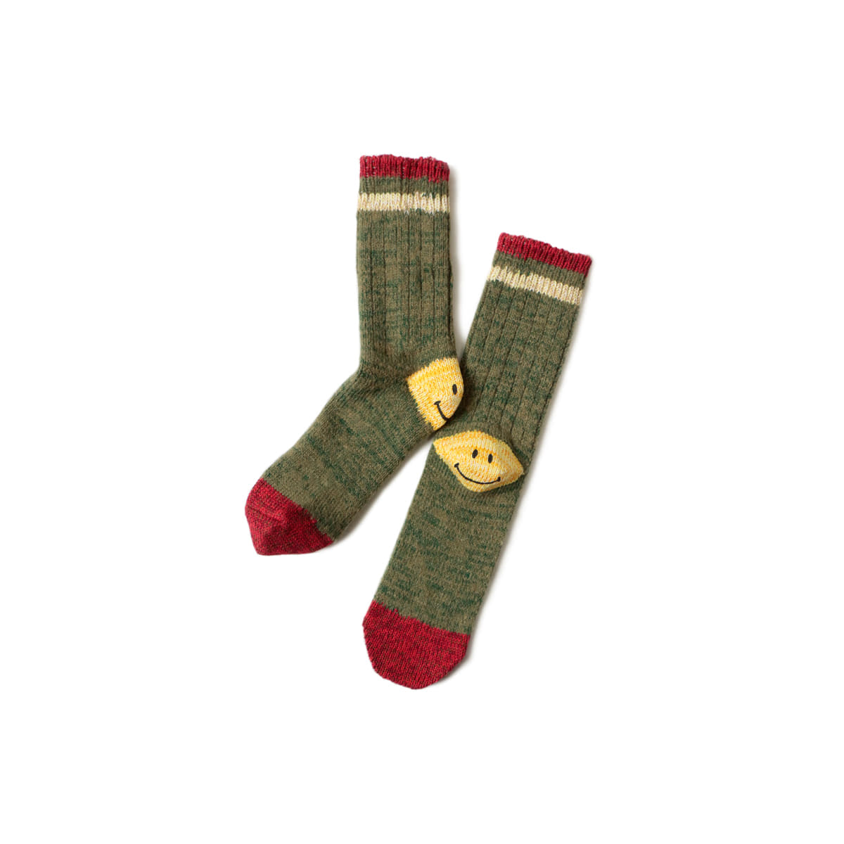 [KAPITAL] 72 YARNS WOOL IVY SMILE SOCKS 'GREEN'