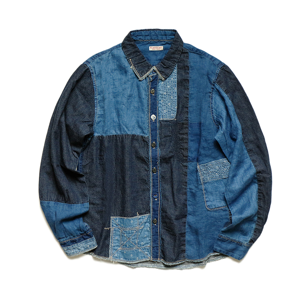 [KAPITAL] COTTON x LINEN WHITE PATCH KATHMANDU SHIRTS 'INDIGO'