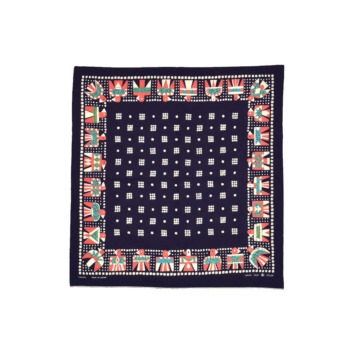 [KAPITAL] FAST COLOR SELVEDGE BANDANA (THUNDERBIRD) 'BLACK'