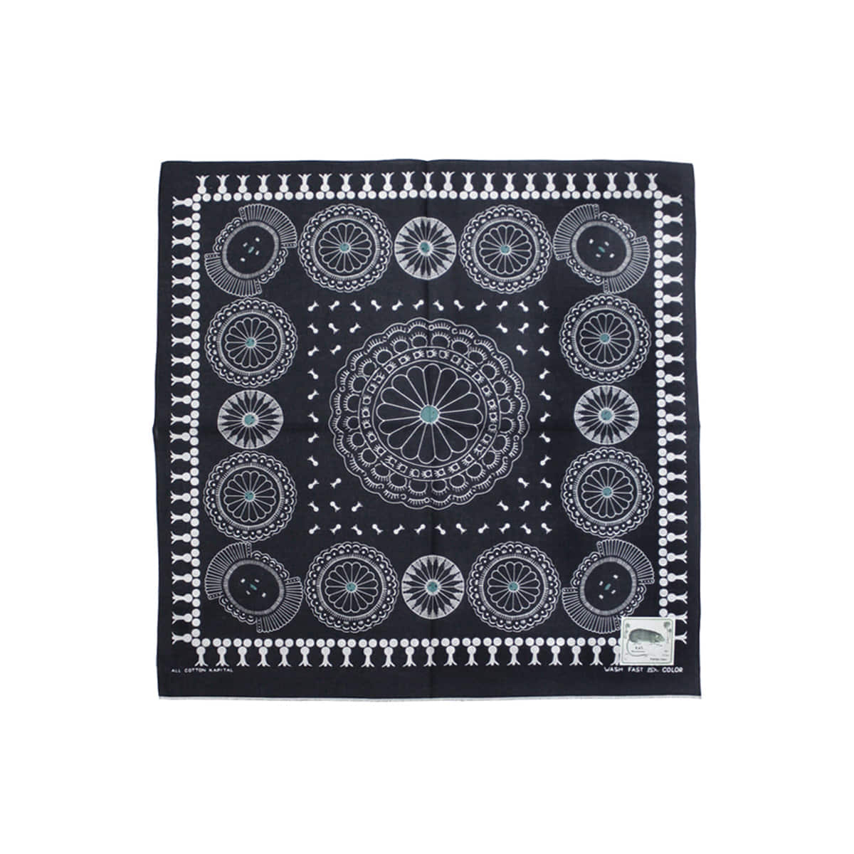 [KAPITAL] FAST COLOR SELVEDGE BANDANA (CONCHO) 'BLACK'