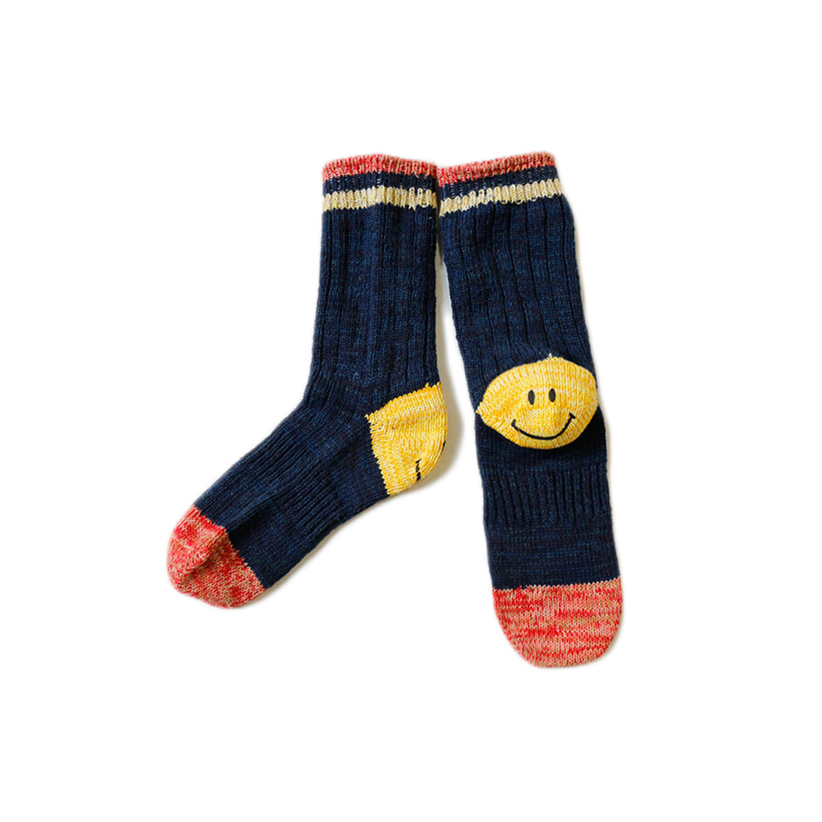 [KAPITAL] 64 YARNS IVY SMILE HEEL HOLD-WELL SOCKS 'NAVY'