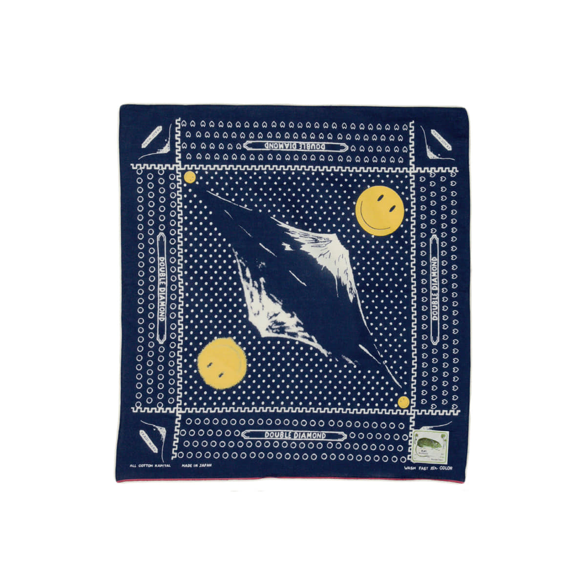 [KAPITAL] FAST COLOR SELVEDGE BANDANA (MIRRORED FUJI SMILE) 'NAVY'