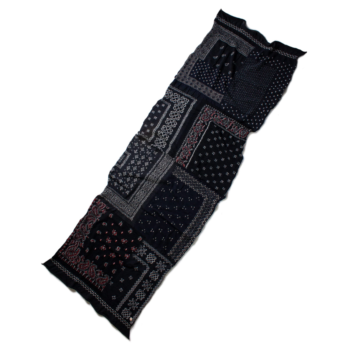 [KAPITAL] COMPRESSED WOOL SCARF BANDANA PATCHWORK 'BLACK'
