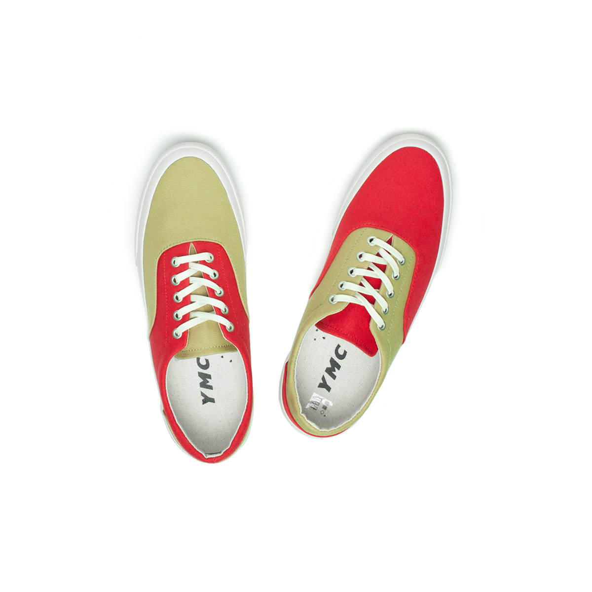 [YMC] 2 TONE TRAINER 'KHAKI / RED'