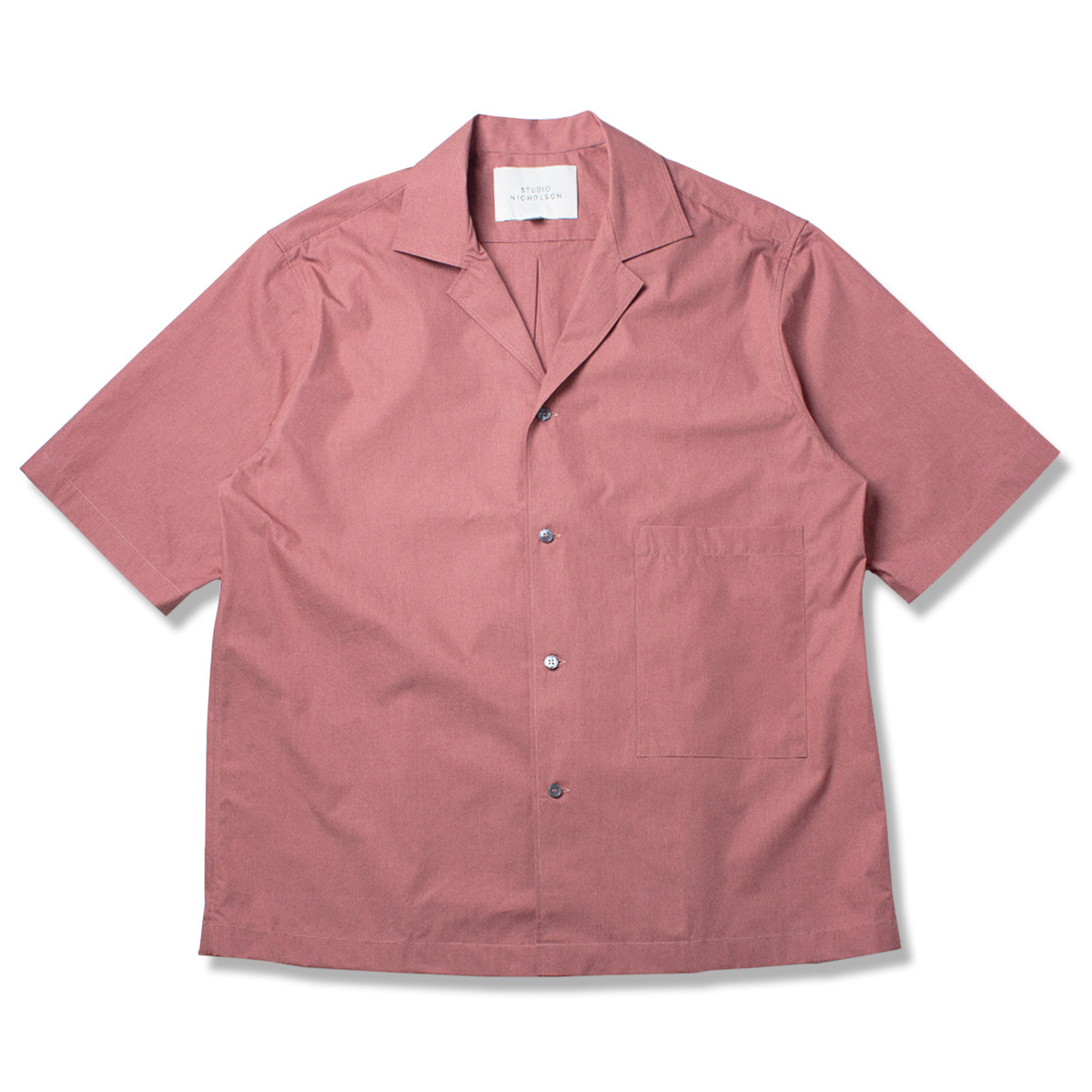 [STUDIO NICHOLSON] SHORT SLEEVE CAMP COLLAR SHIRT 'MEDINA PINK'