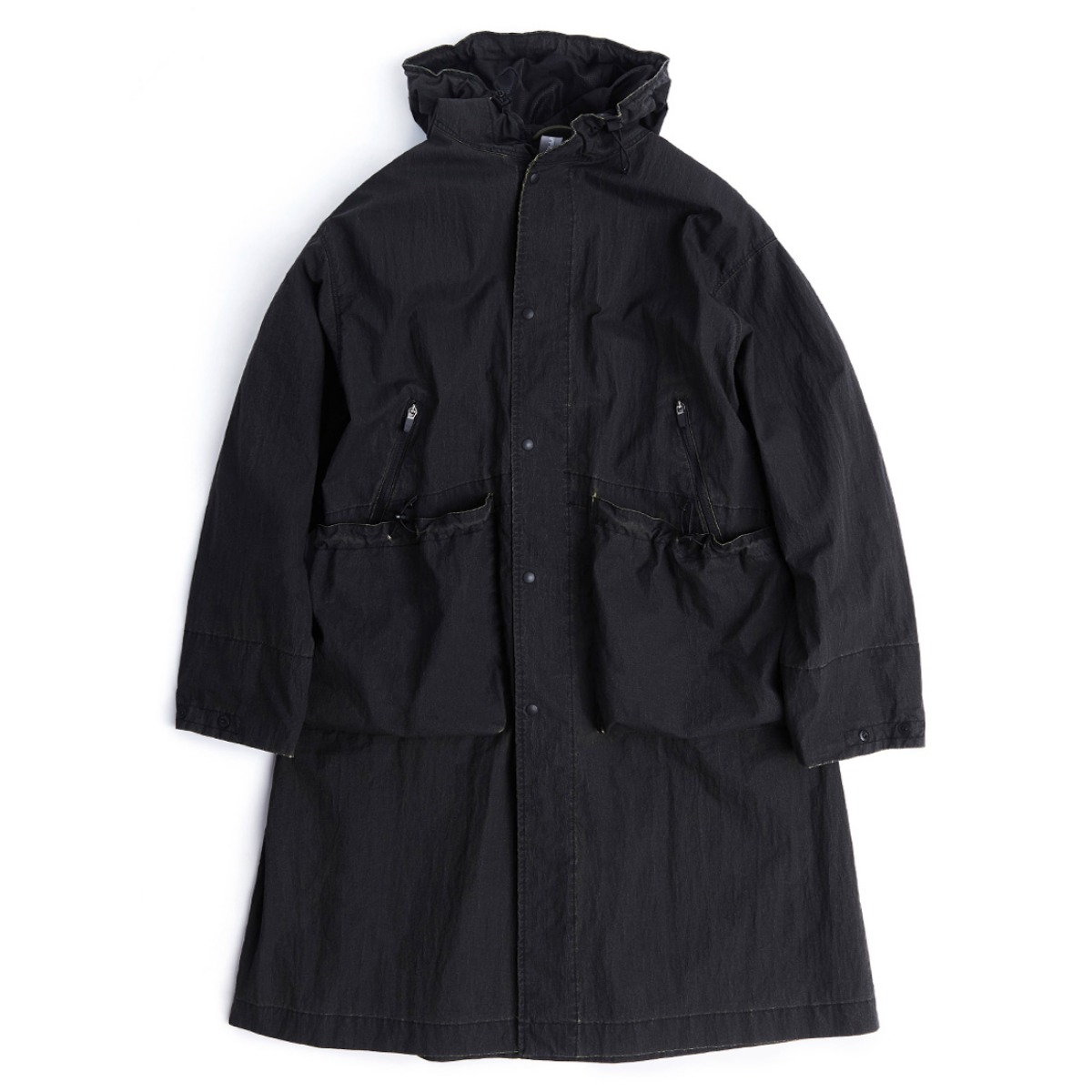 [UNAFFECTED] OVERSIZED LONG PARKA 'CRACKED BLACK'