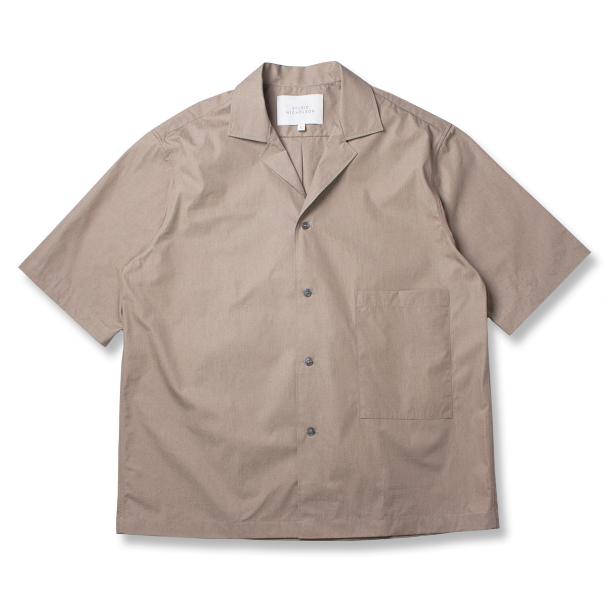 [STUDIO NICHOLSON] SHORT SLEEVE CAMP COLLAR SHIRT 'KHAKI'