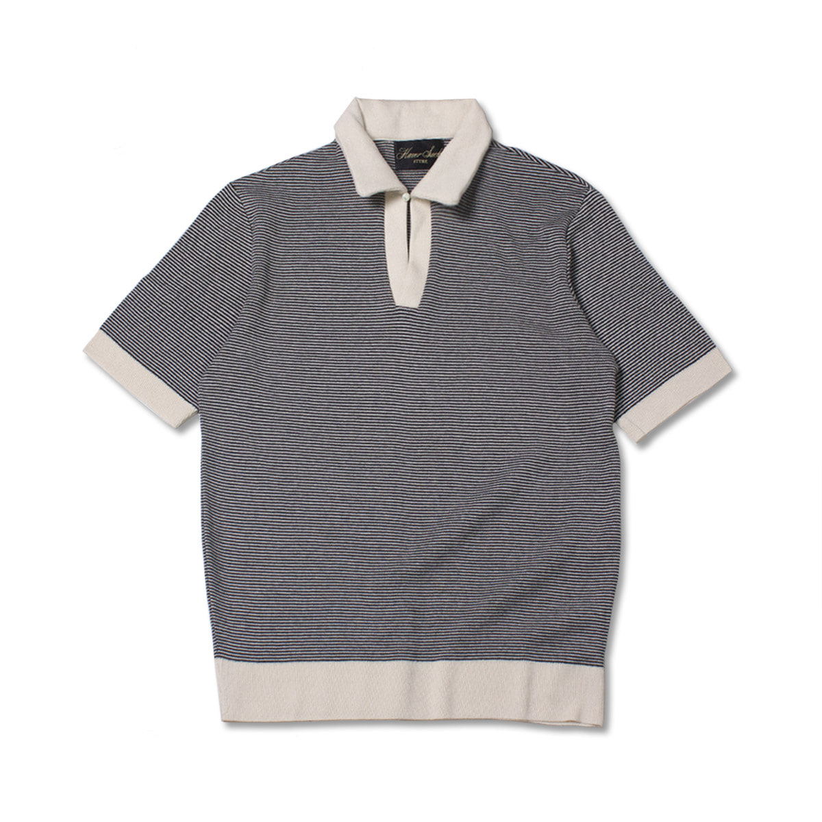 [HAVERSACK] STRIPE POLO SHIRTS 'BLACK / IVORY'
