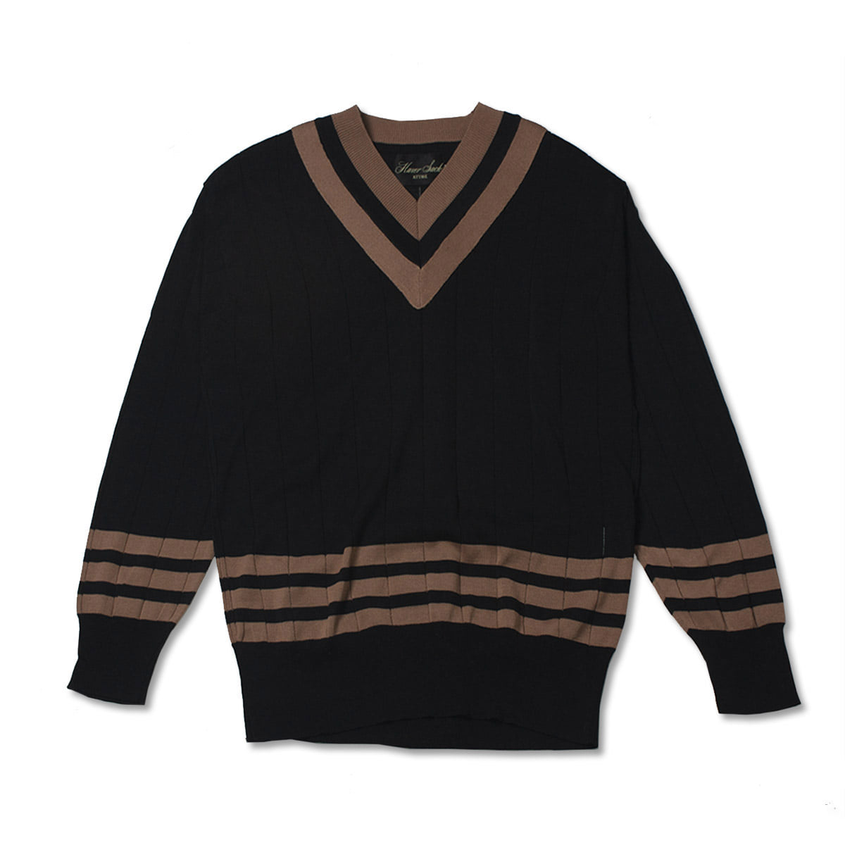 [HAVERSACK] V NECK COTTON KNIT 'BLACK / BROWN'