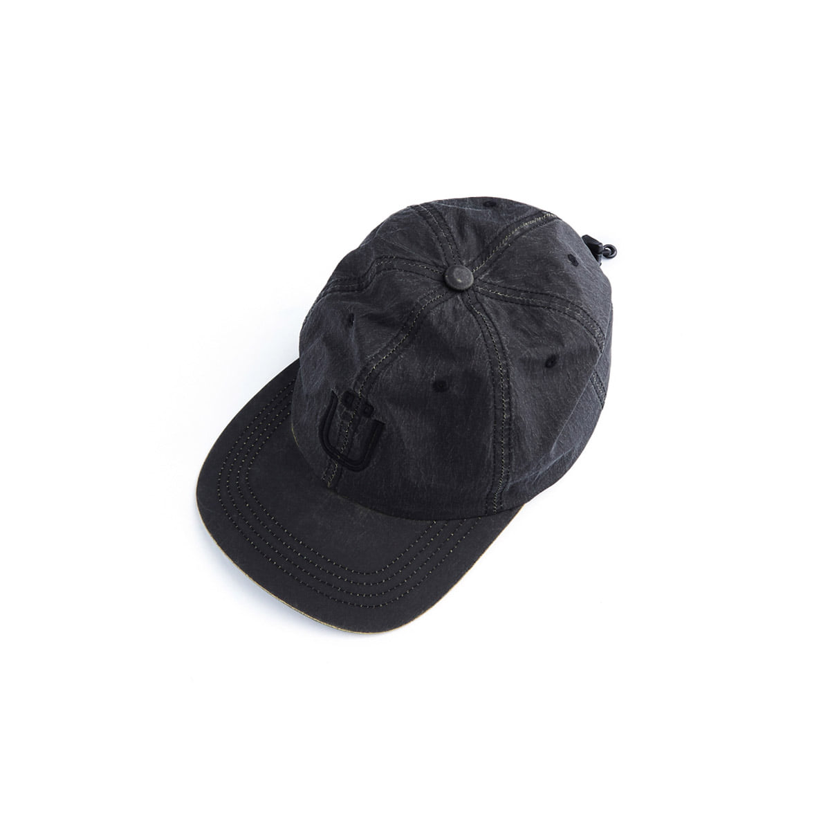 [UNAFFECTED] DRAWSTRING BALL CAP 'CRACKED BLACK'