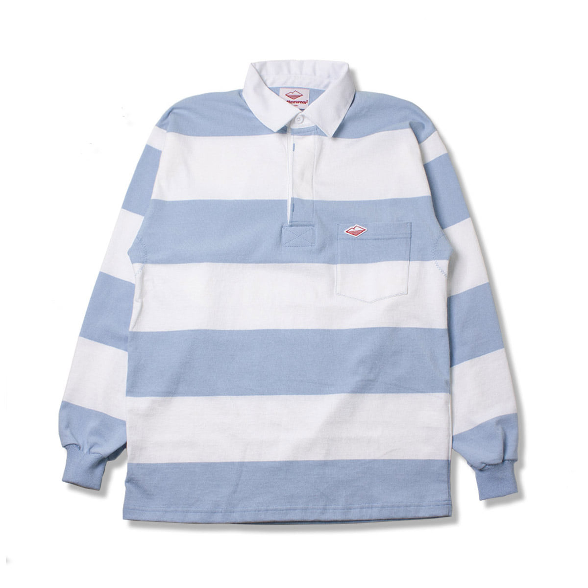 [BATTENWEAR] POCKET RUGBY SHIRT 'WHITE / LIGHT BLUE'