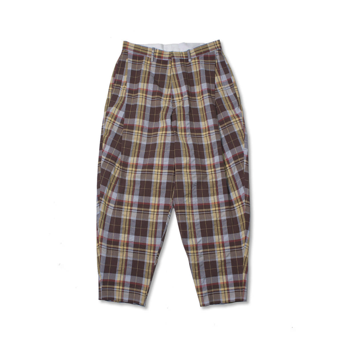 [HAVERSACK] MARDRAS CHECK PLEATED PANTS 'BROWN / YELLOW'