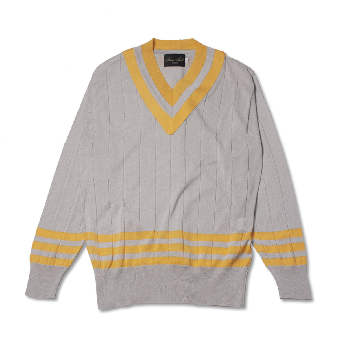 [HAVERSACK] V NECK COTTON KNIT 'YELLOW/ IVORY'