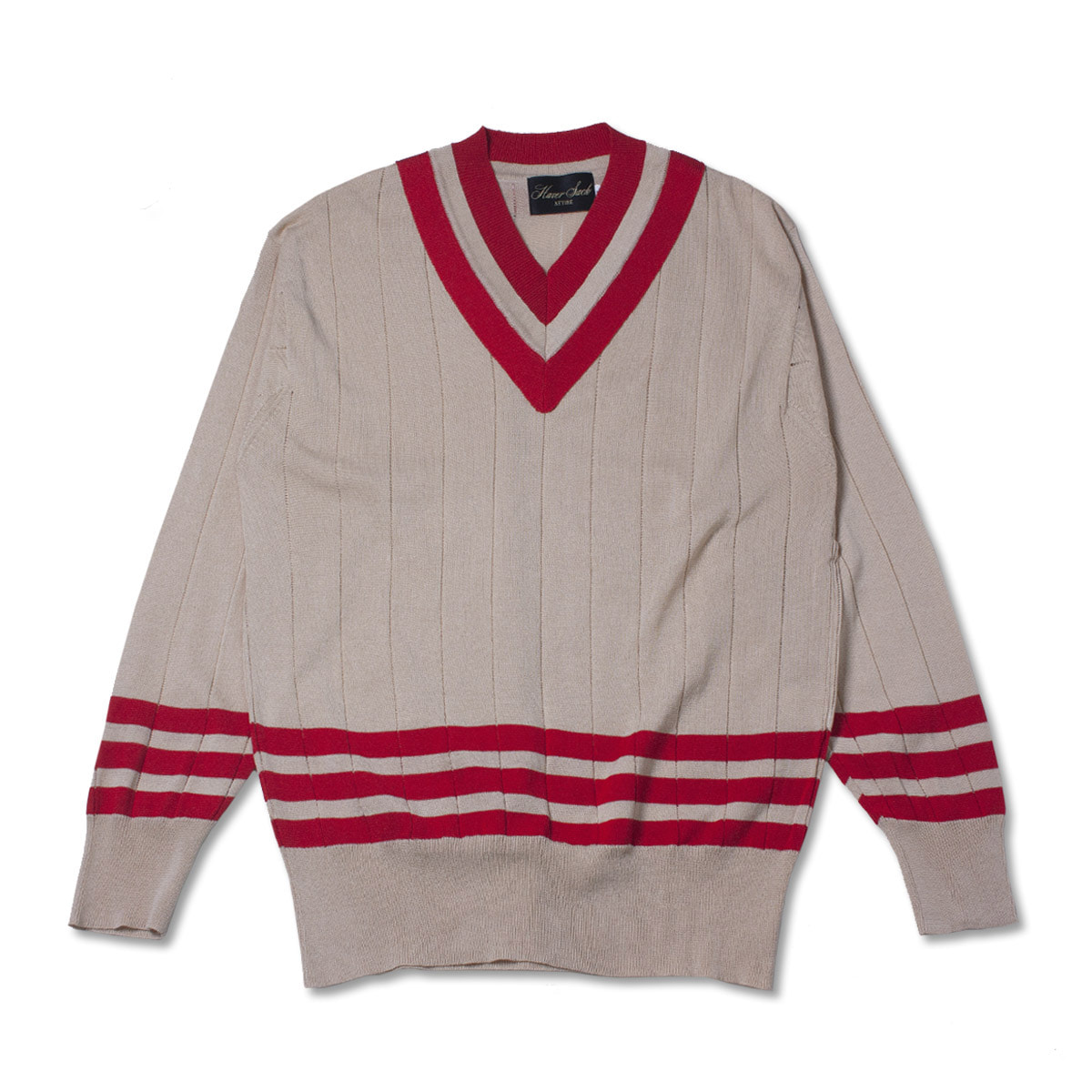 [HAVERSACK] V NECK COTTON KNIT 'RED/ BEIGE'