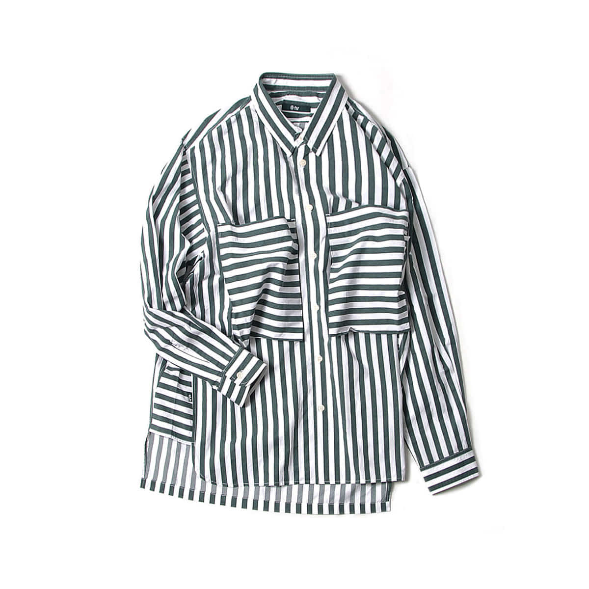 [BEHEAVYER] POCKET TUNIM SHIRT 'GREEN STRIPE'