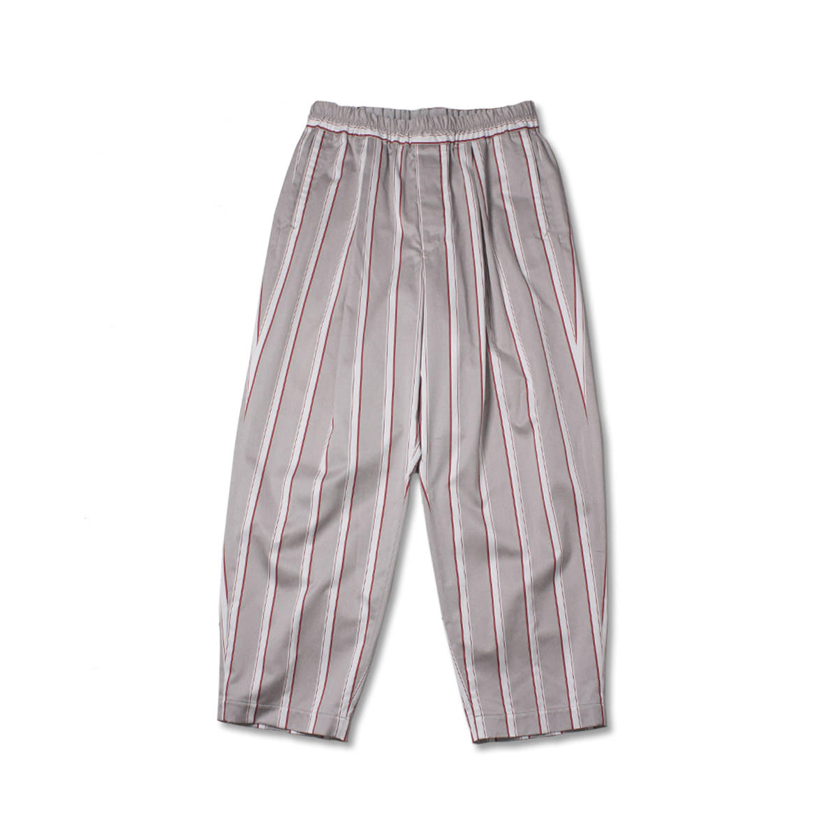 [HAVERSACK] SATIN STRIPE WIDE EASY PANTS 'GRAY'