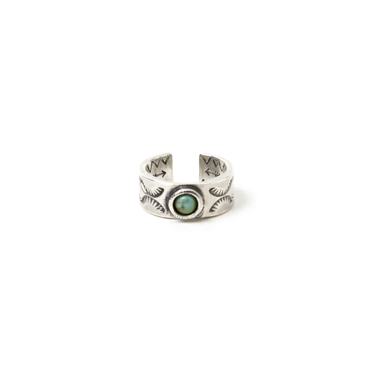 [NORTH WORKS] 900 SILVER TURQUOISE STAMP RING 'N-223'