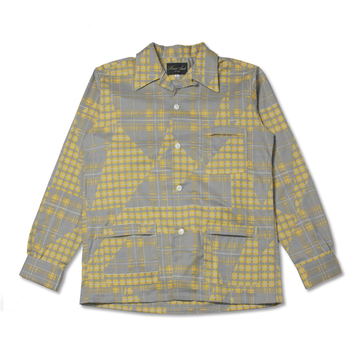 [HAVERSACK] PATCHWORK CHECK OPEN COLLAR SHIRT 'GREY / YELLOW'